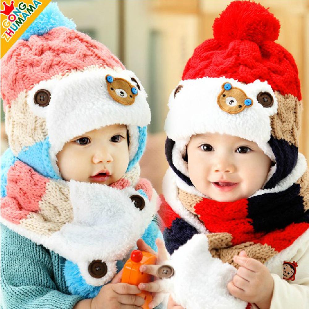 韓版-小熊三色護耳帽組