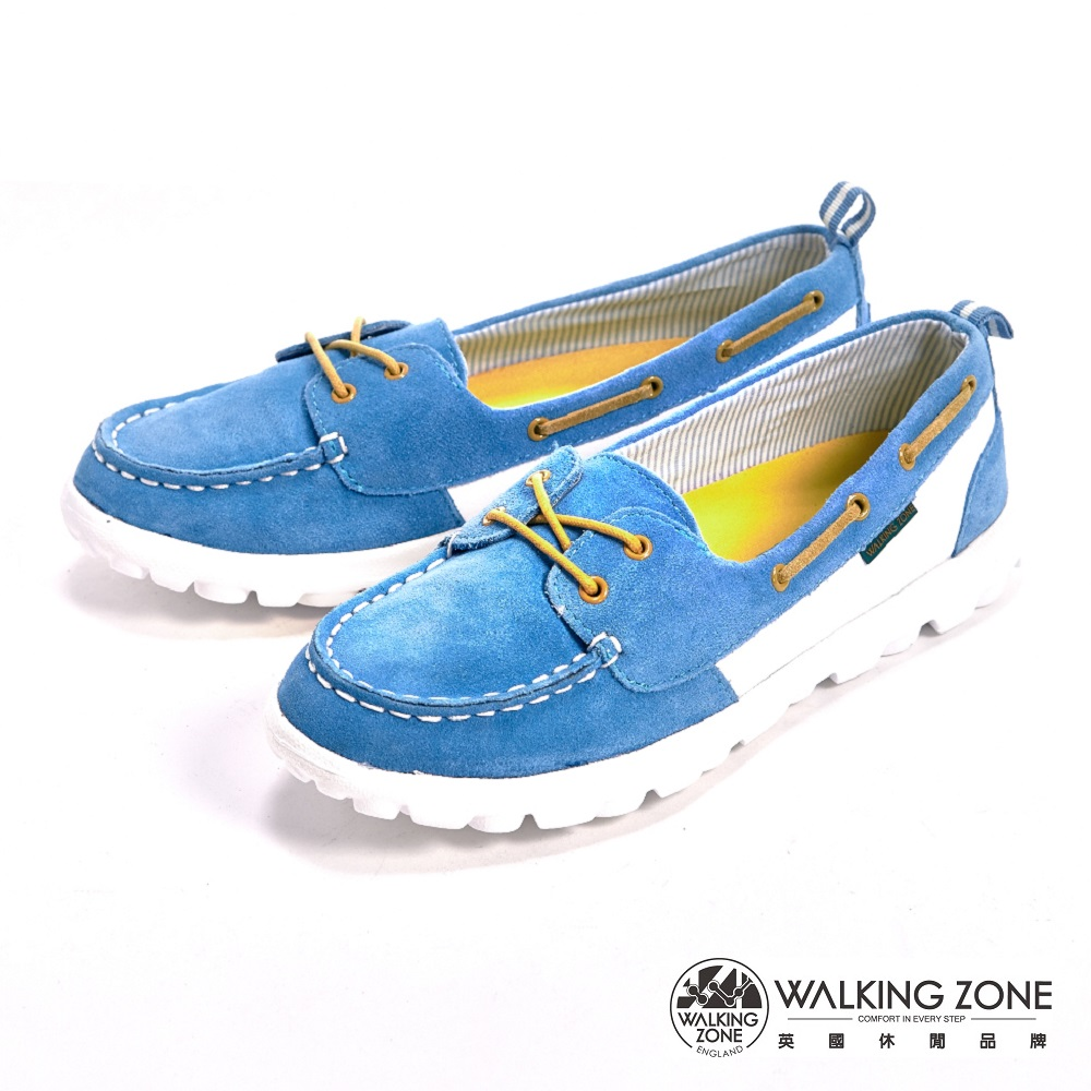 【WALKING ZONE】麂皮輕量大底懶人女鞋-藍