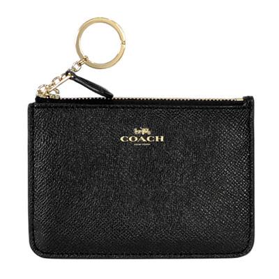 COACH黑色壓紋全皮金字方型鑰匙零錢包-大