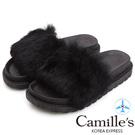 Camille's 韓國空運-奢華蓬鬆毛毛厚底涼拖鞋-黑色