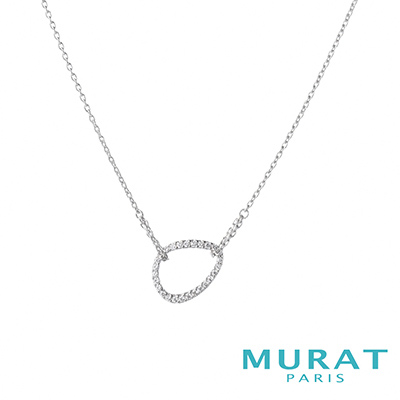 MURAT Paris米哈巴黎 鏤空滿鑽曲線水滴項鍊