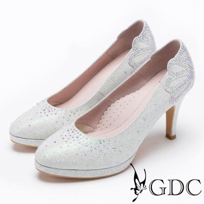 GDC-滿鑽高貴奢華水台跟鞋(婚鞋)-銀白色