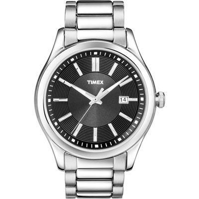 TIMEX 螺旋紋時尚商務腕錶-黑/38mm