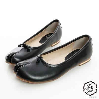 TINCAL法式優雅-不規則分趾線條素色娃娃鞋-黑色