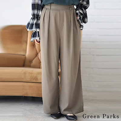 Green Parks 俐落感打褶寬褲