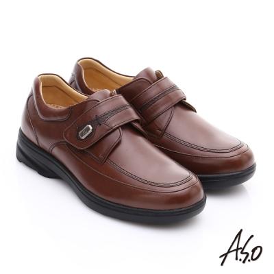 A.S.O 超能耐 帥氣魔鬼氈真皮奈米休閒皮鞋 茶色