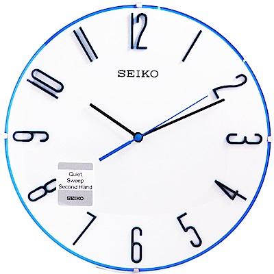 SEIKO 精工 地中海無邊框 立體時標 靜音 時鐘 掛鐘(QXA672W)