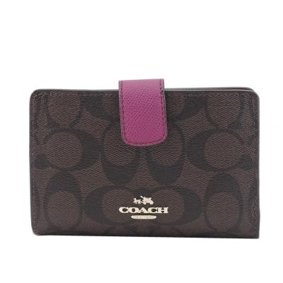 COACH-C-LOGO-皮革拉鍊袋中夾-巧克力紫