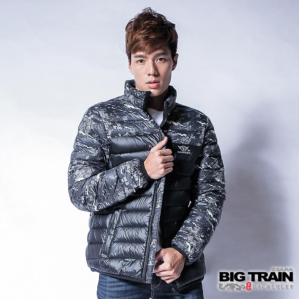 BIG TRAIN 超輕量龍紋羽絨外套-男-黑色