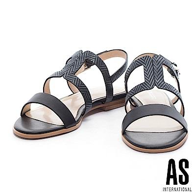 涼鞋 AS 清新雅緻編織壓紋牛皮條帶平底涼鞋-黑