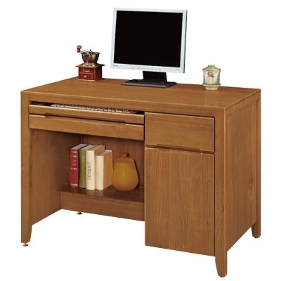 品家居 閱樂3.5尺實木檜木色電腦書桌
