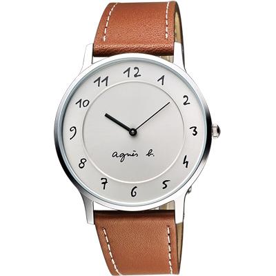 agnes b. 法國時尚藝術腕錶-銀/卡其/39mm