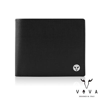 VOVA - 凱旋II系列8卡IV紋中翻零錢皮夾 - 摩登黑