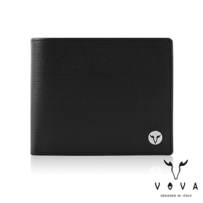 VOVA - 凱旋II系列8卡IV紋加大款皮夾 - 摩登黑