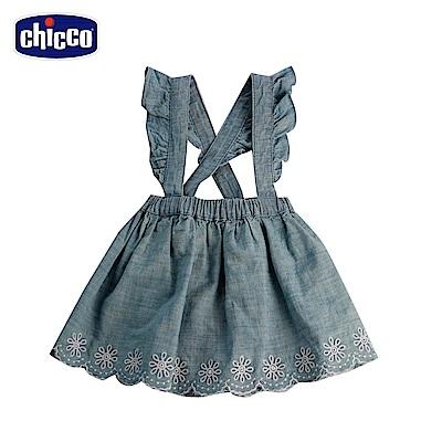 chicco彩蝶-吊帶牛仔裙-藍