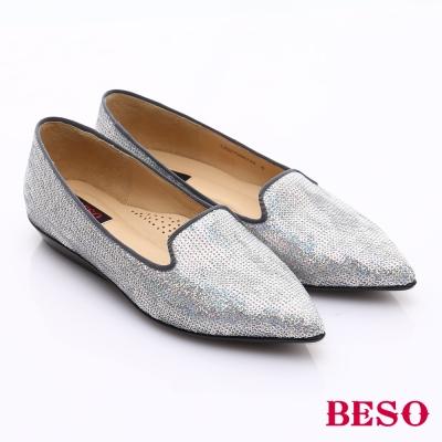 BESO-時尚核心-牛皮尖楦優雅樂福鞋-銀