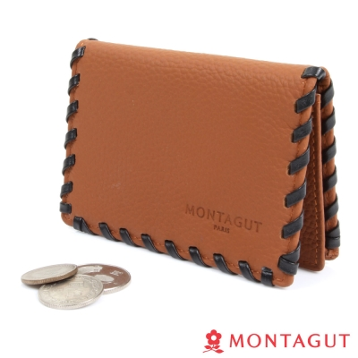 MONTAGUT夢特嬌-編織牛皮名片夾
