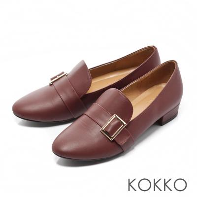 KOKKO-率性素面真皮彈力樂福跟鞋-紅