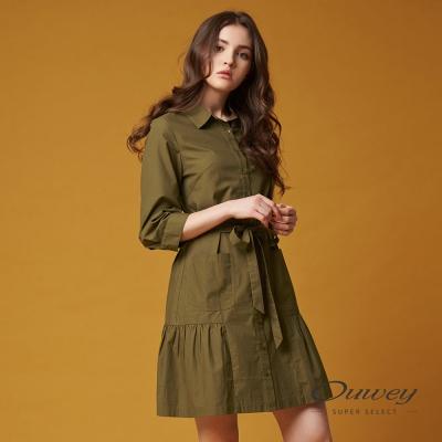 OUWEY歐薇 率性休閒綁帶洋裝(綠)