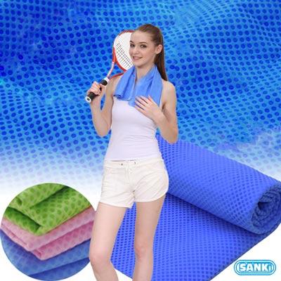日本SANKi-冰涼毛巾4入粉紅色+藍色