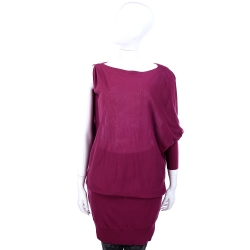 MARELLA 桃紫色單肩造型長袖洋裝(附綁帶)