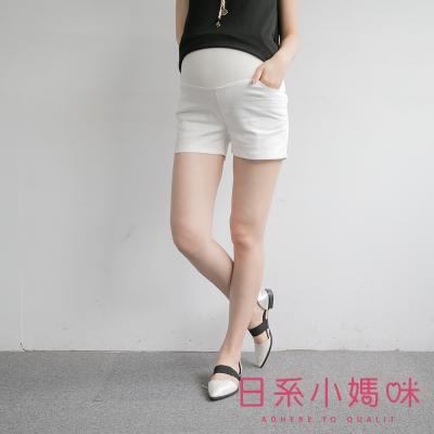 日系小媽咪孕婦裝-孕婦褲~素面挺版口袋短褲 M-XL (共二色)