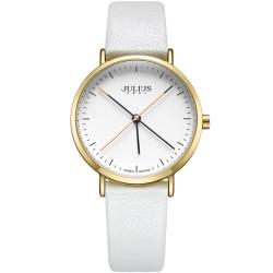 JULIUS聚利時 凝駐時光長指針設計皮錶帶腕錶-白色/34mm