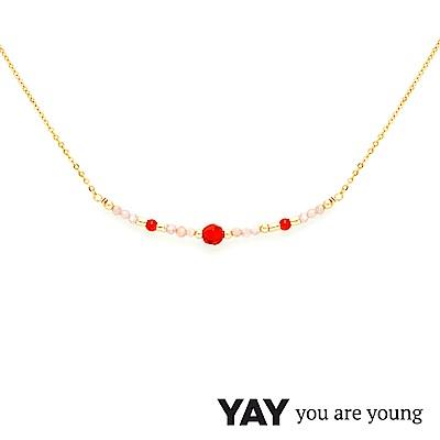 YAY You Are Young 法國品牌 Cleo 玫瑰粉玉石項鍊 平衡墜設計 金色