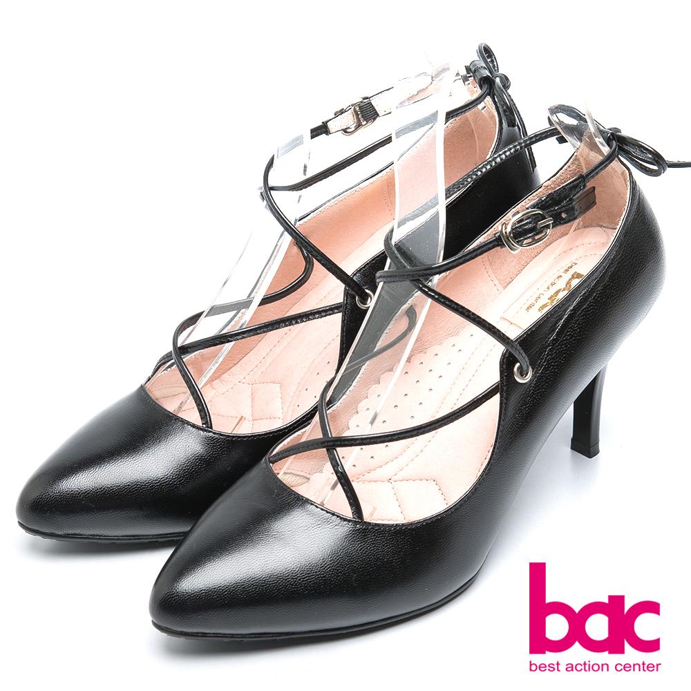 bac時尚品味 魅力迷人繞繩高跟鞋-黑色