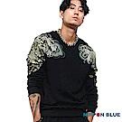 日本藍 BLUE WAY 日本藍龍鯉鬥圓領長TEE-黑