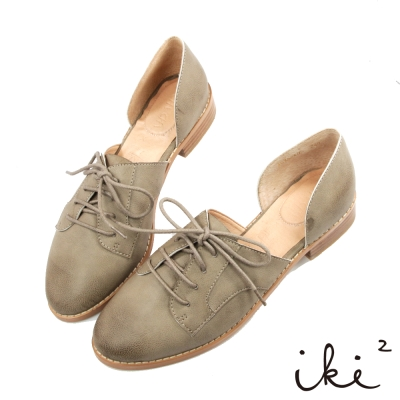 iki2-獨特真皮親膚平底休閒鞋-灰