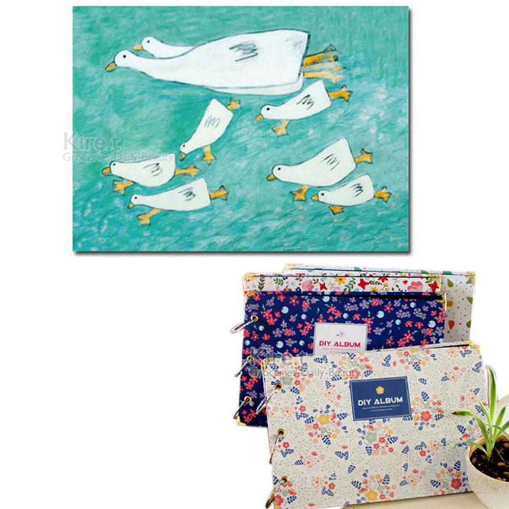 Kiret韓國DIY相本60頁自黏相本送角貼-活頁手工相冊相簿-藍色小鴨