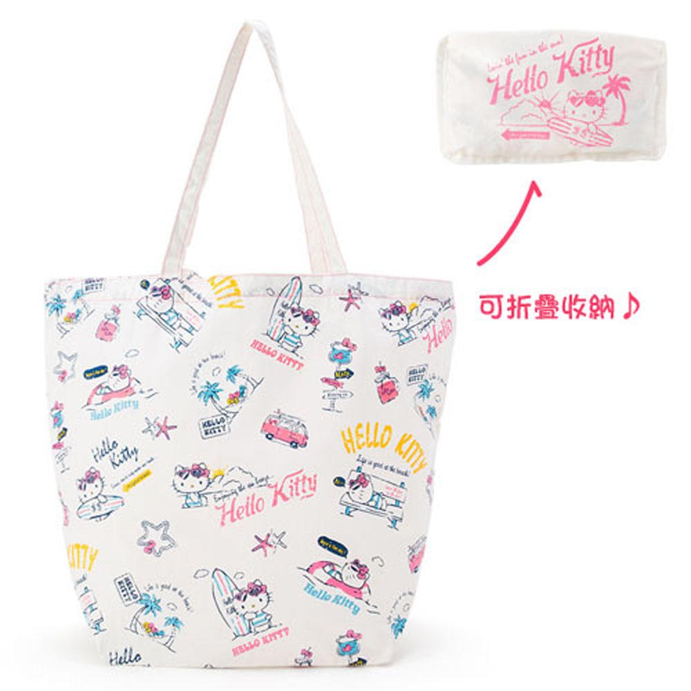 Sanrio HELLO KITTY帆布環保購物袋(海灘生活)