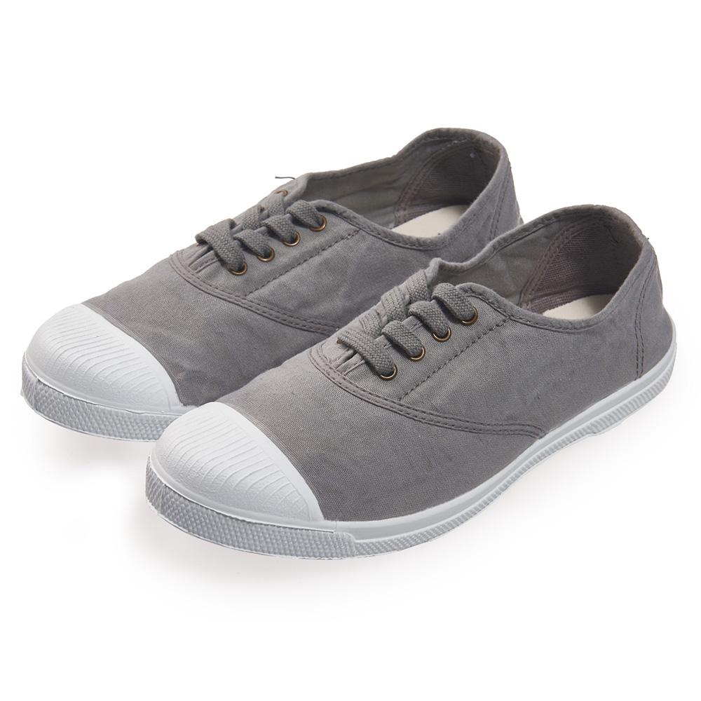 (女)Natural World 西班牙休閒鞋 素面4孔基本款*灰色