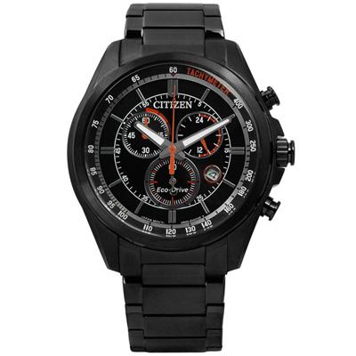CITIZEN 時尚競速快感三眼計時光動能手錶(AT2136-87E)-鍍黑色/43mm