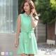 LIYO理優韓系洋裝彼得潘領無袖洋裝(綠,紫