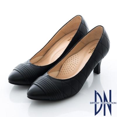 DN-氣質首選-MIT羊皮菱格紋跟鞋-黑