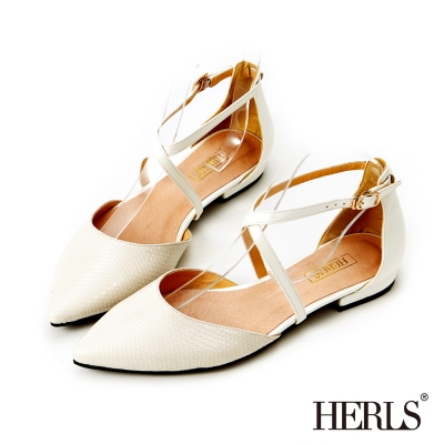 HERLS 蛇皮紋優雅繞踝平底鞋-白色