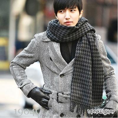 小猴子的賣場 韓國製超高質感千鳥格/蘇格蘭格紋寬版圍巾/披巾