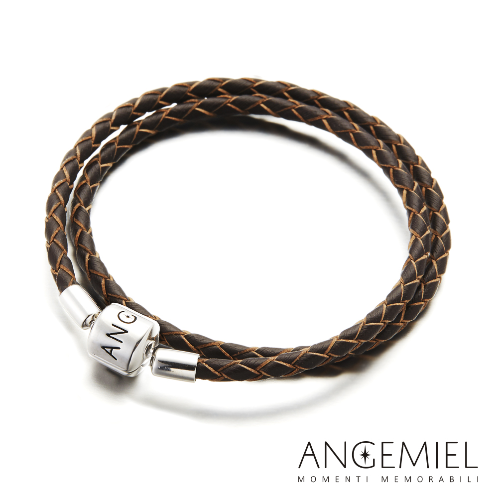 Angemiel安婕米 義大利純銀珠飾 雙圈皮革手環(深褐)