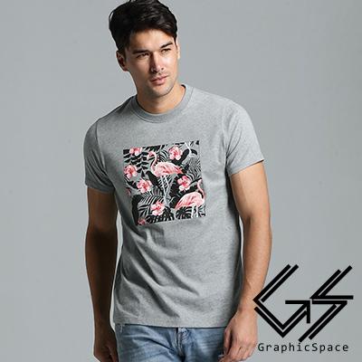 紅鶴花朵剪影磨毛水洗T恤共二色-GraphicSpace