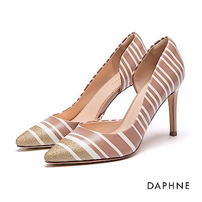 達芙妮DAPHNE 高跟鞋-撞色條紋金蔥挖空高跟鞋-粉紅
