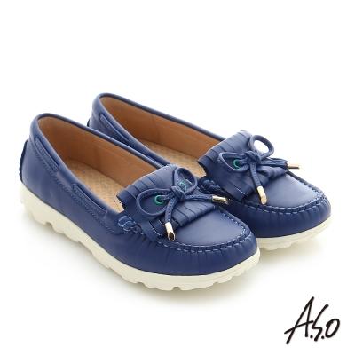 A.S.O 輕量抗震 真皮蝴蝶結奈米窩心健走平底鞋 深藍色