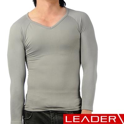 冬季塑身衣 男性 長袖 腰腹加強款  灰色 LEADER