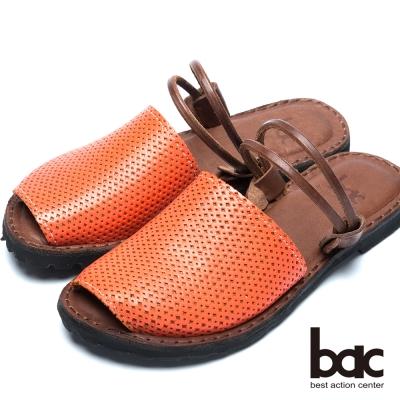 bac台灣製造 兩穿式平底涼鞋-桔色
