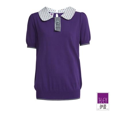 ILEY伊蕾-愛心雙色圖紋領子針織上衣-紫