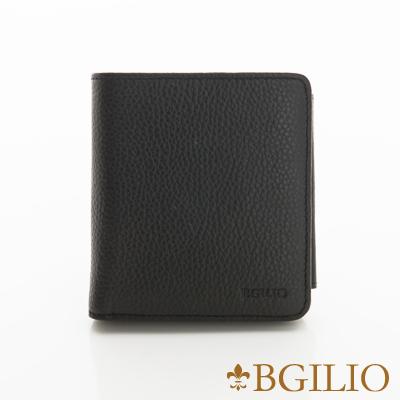 義大利BGilio-高質感牛皮短夾-黑色1969.313-05