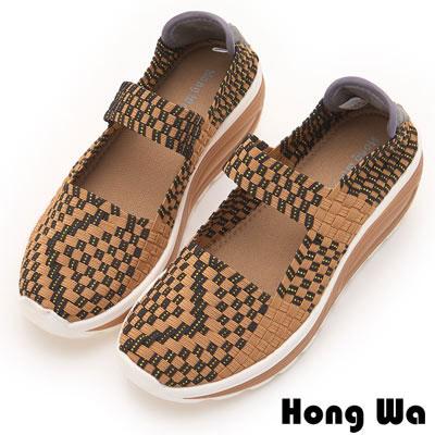 Hong Wa 休閒運動風手工厚底一字帶造型編織械型包鞋 - 棕