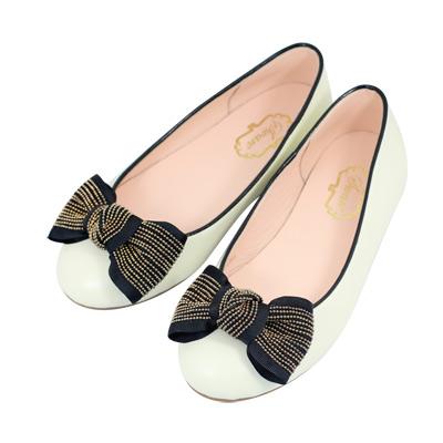 Swan天鵝童鞋-法式風格金鍊蝴蝶結公主鞋8613-米
