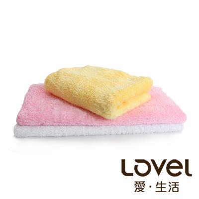 Lovel 超強吸水輕柔微絲多層次開纖紗毛巾3入(共9色)